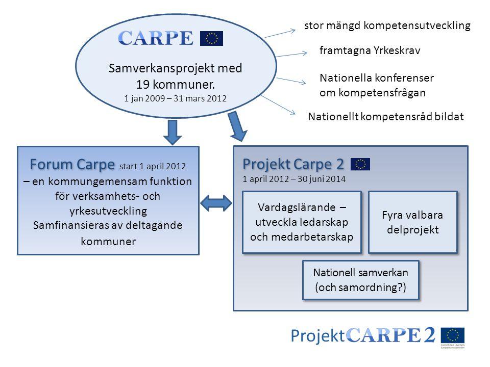 Projekt Samverkansprojekt med 19 kommuner. 1 jan 2009 – 31 mars 2012 stor mängd kompetensutveckling framtagna Yrkeskrav Nationella konferenser om komp