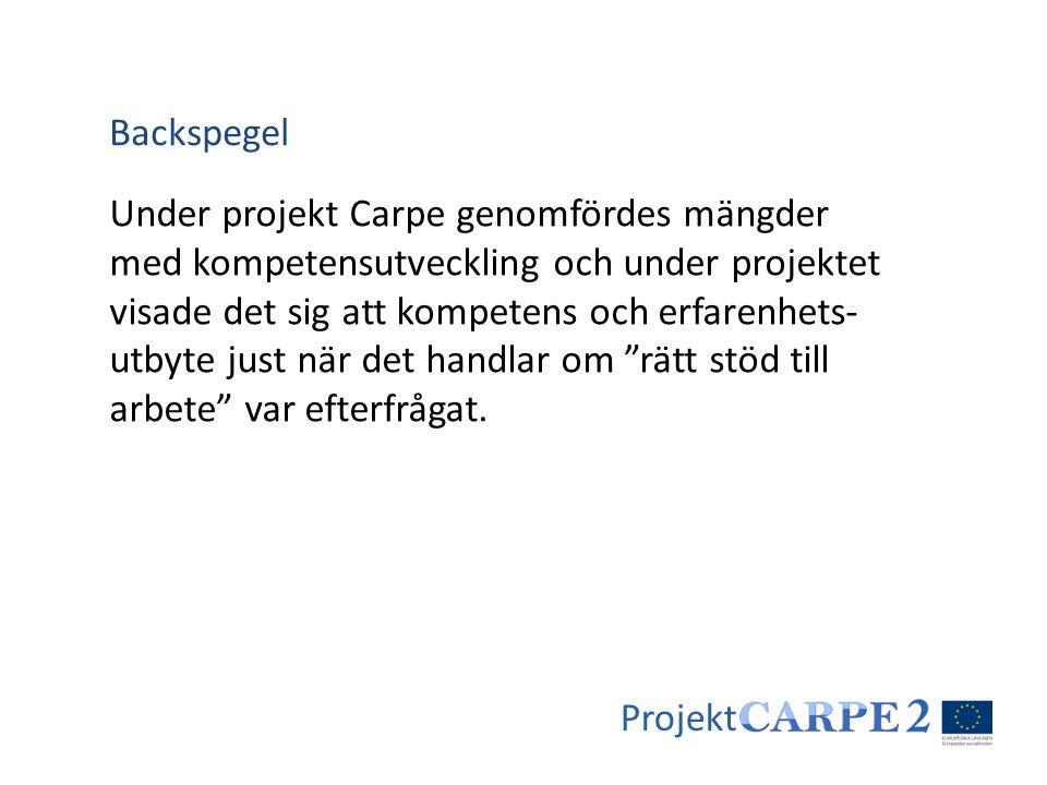 Projekt Under projekt Carpe genomfördes mängder med kompetensutveckling och under projektet visade det sig att kompetens och erfarenhets- utbyte just