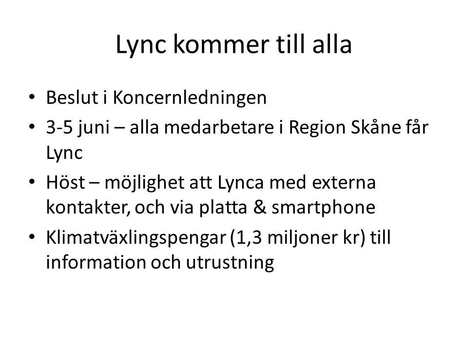 Lync kommer till alla • Beslut i Koncernledningen • 3-5 juni – alla medarbetare i Region Skåne får Lync • Höst – möjlighet att Lynca med externa konta