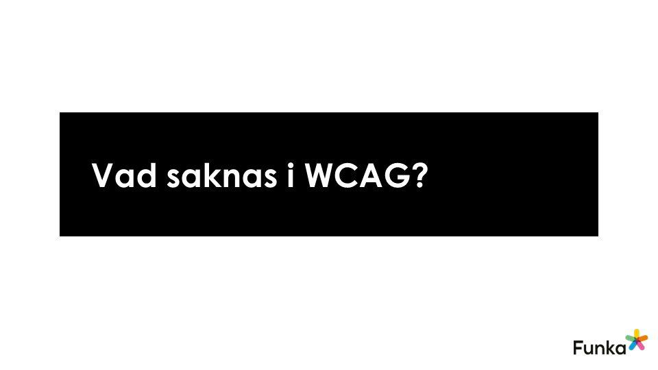 Vad saknas i WCAG