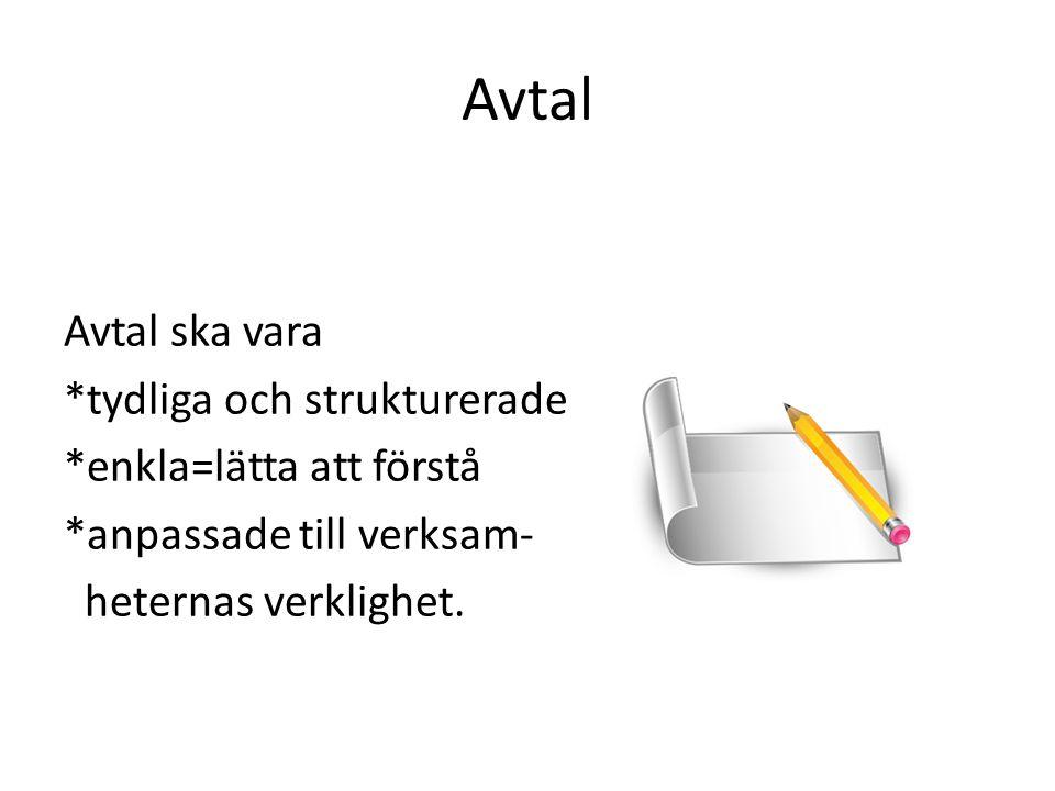 Avtal Avtal ska vara *tydliga och strukturerade *enkla=lätta att förstå *anpassade till verksam- heternas verklighet.