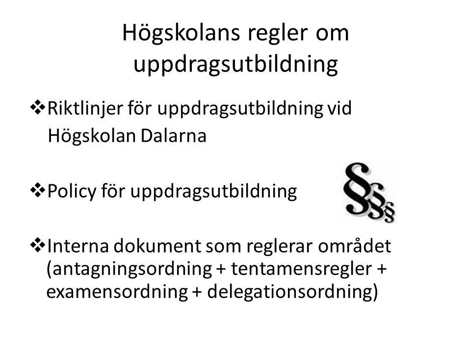 Högskolans regler om uppdragsutbildning  Riktlinjer för uppdragsutbildning vid Högskolan Dalarna  Policy för uppdragsutbildning  Interna dokument s