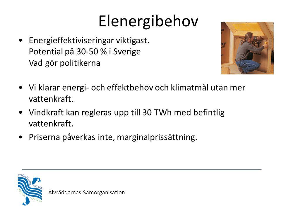 Älvräddarnas Samorganisation Elenergibehov •Energieffektiviseringar viktigast. Potential på 30-50 % i Sverige Vad gör politikerna •Vi klarar energi- o