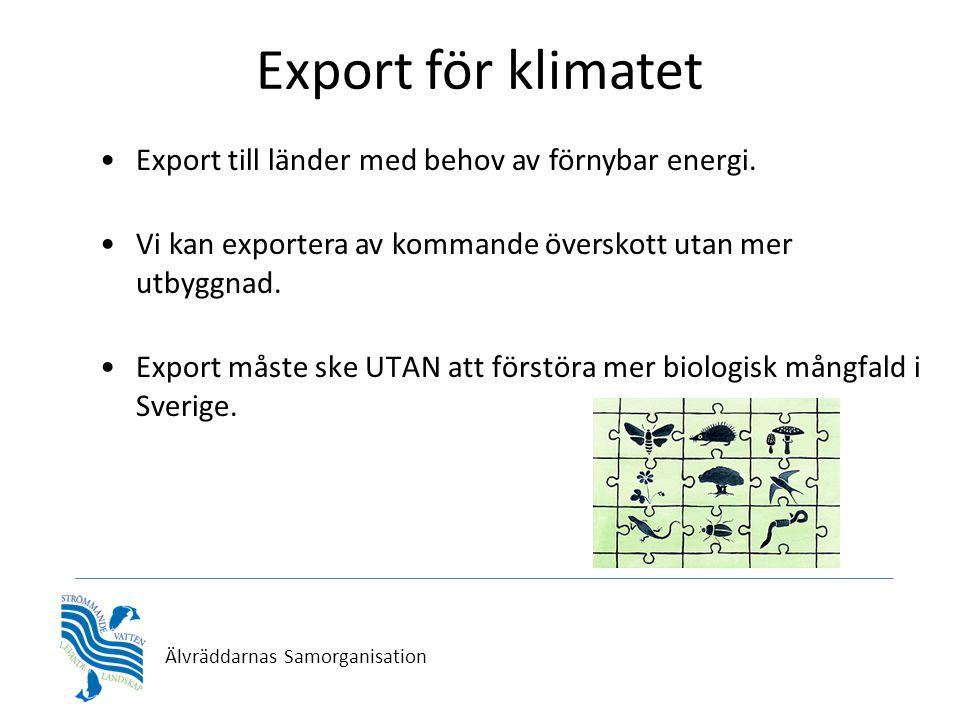 Älvräddarnas Samorganisation Export för klimatet •Export till länder med behov av förnybar energi. •Vi kan exportera av kommande överskott utan mer ut