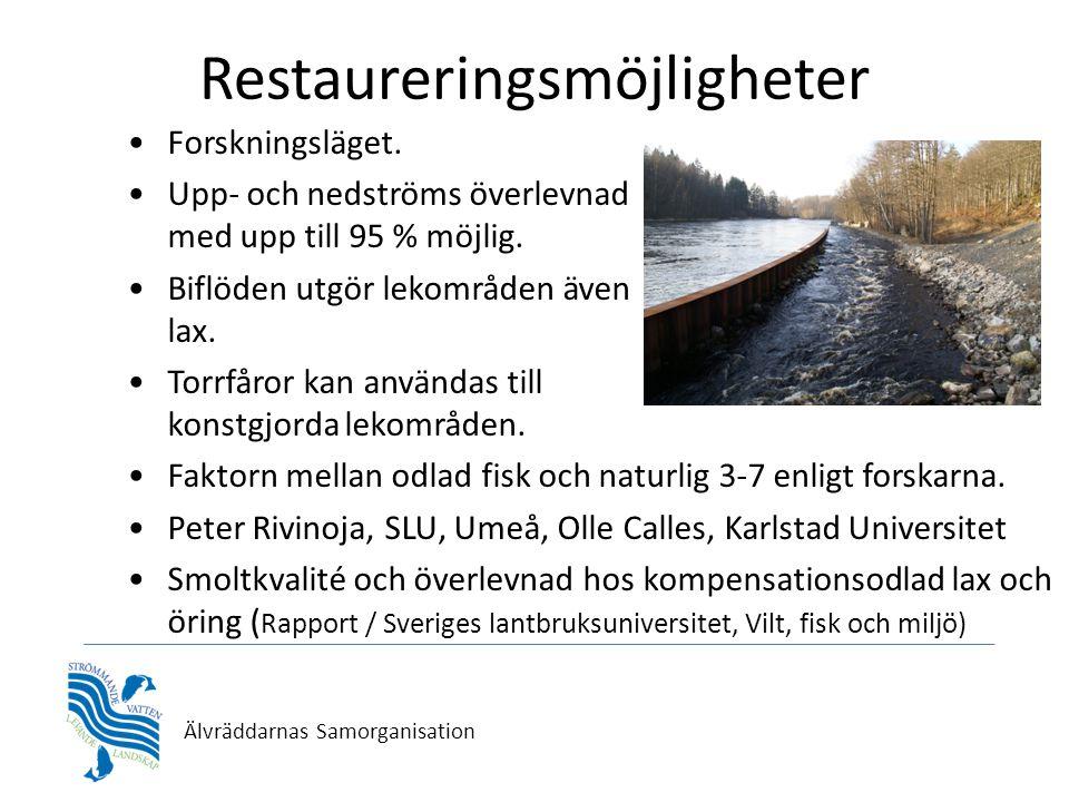 Älvräddarnas Samorganisation Restaureringsmöjligheter •Forskningsläget.