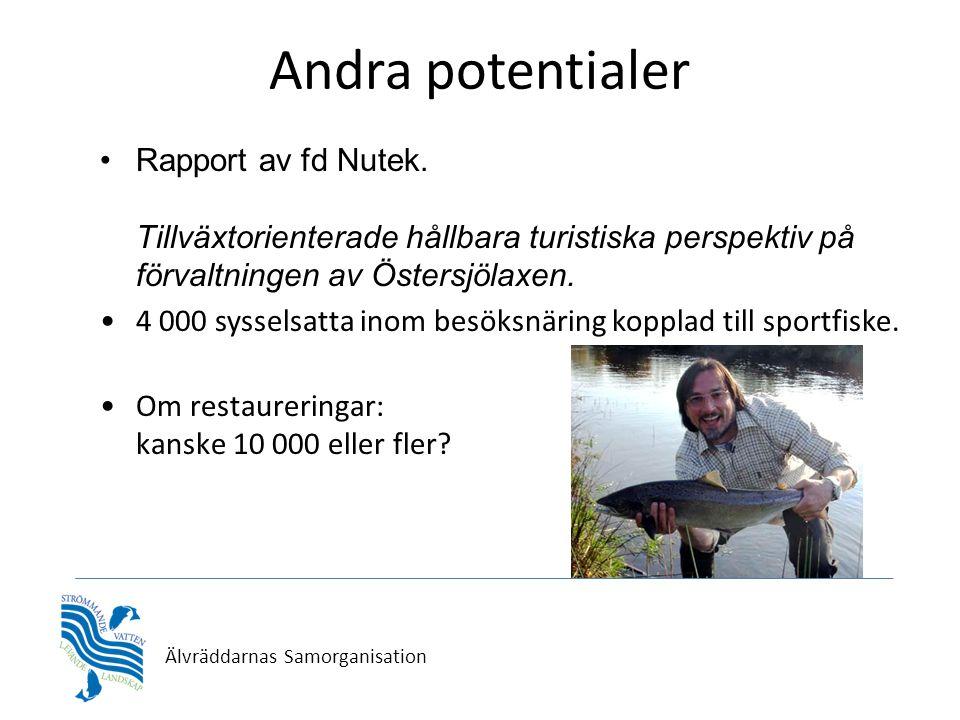 Älvräddarnas Samorganisation Andra potentialer •Rapport av fd Nutek. Tillväxtorienterade hållbara turistiska perspektiv på förvaltningen av Östersjöla