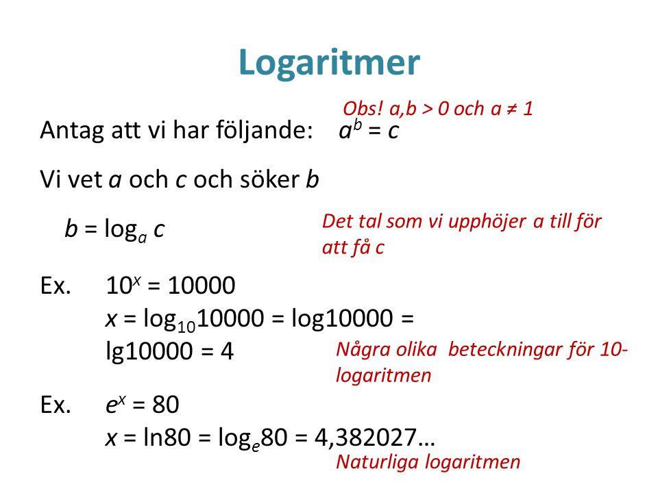Logaritmer Antag att vi har följande: a b = c Vi vet a och c och söker b b = log a c Ex.10 x = 10000 x = log 10 10000 = log10000 = lg10000 = 4 Ex.e x = 80 x = ln80 = log e 80 = 4,382027… Det tal som vi upphöjer a till för att få c Några olika beteckningar för 10- logaritmen Naturliga logaritmen Obs.