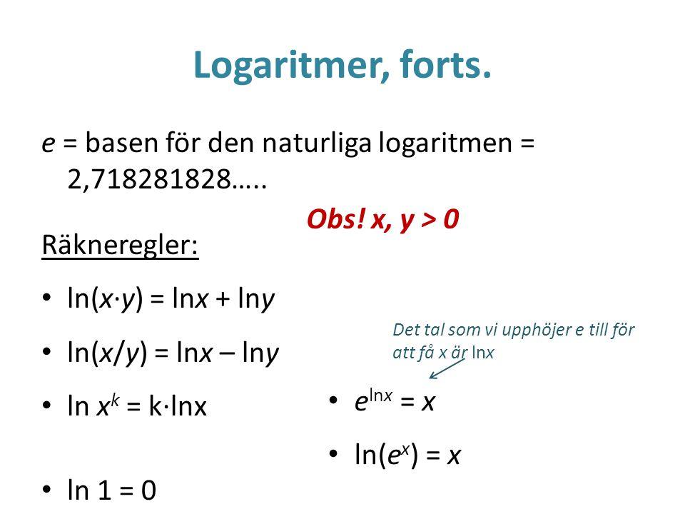 Logaritmer, forts.e = basen för den naturliga logaritmen = 2,718281828…..