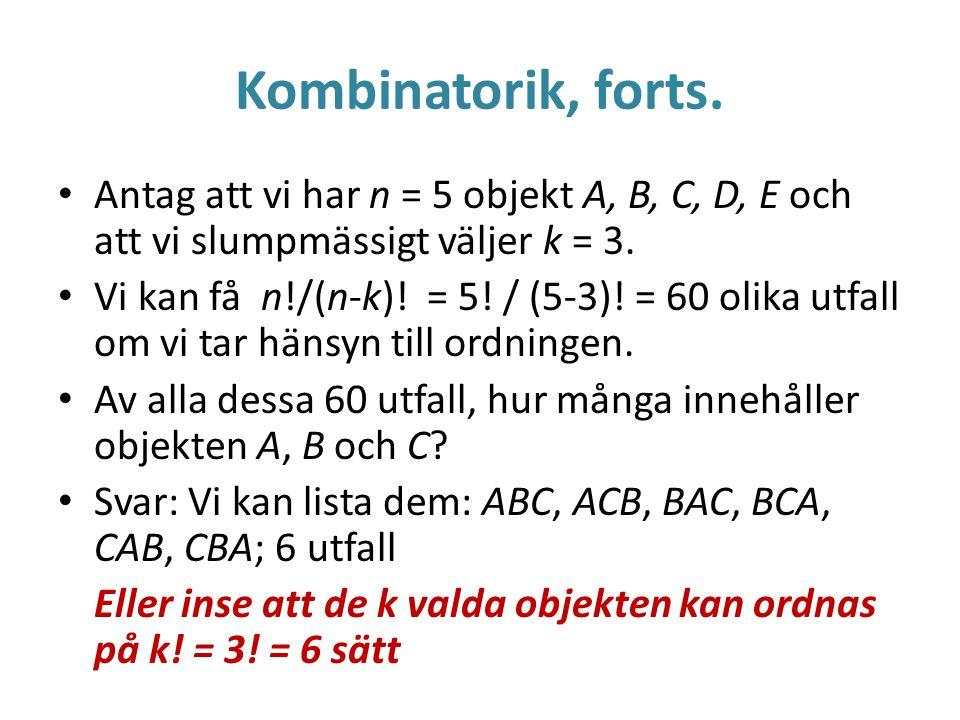 Kombinatorik, forts.