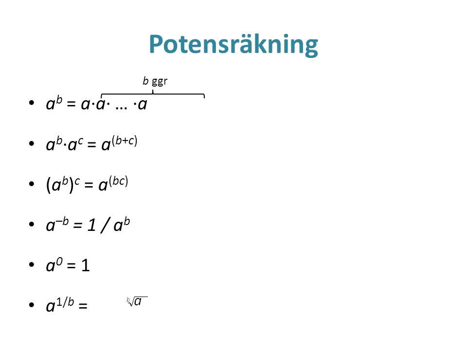 Potensräkning • a b = a·a· … ·a • a b ·a c = a (b+c) • (a b ) c = a (bc) • a –b = 1 / a b • a 0 = 1 • a 1/b = b ggr