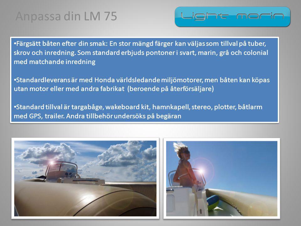 Anpassa din LM 75 • Färgsätt båten efter din smak: En stor mängd färger kan väljas som tillval på tuber, skrov och inredning. Som standard erbjuds pon