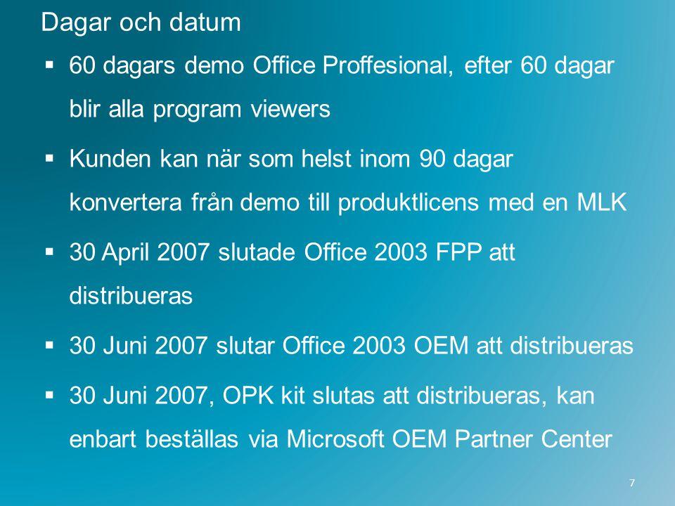 Dagar och datum  60 dagars demo Office Proffesional, efter 60 dagar blir alla program viewers  Kunden kan när som helst inom 90 dagar konvertera frå