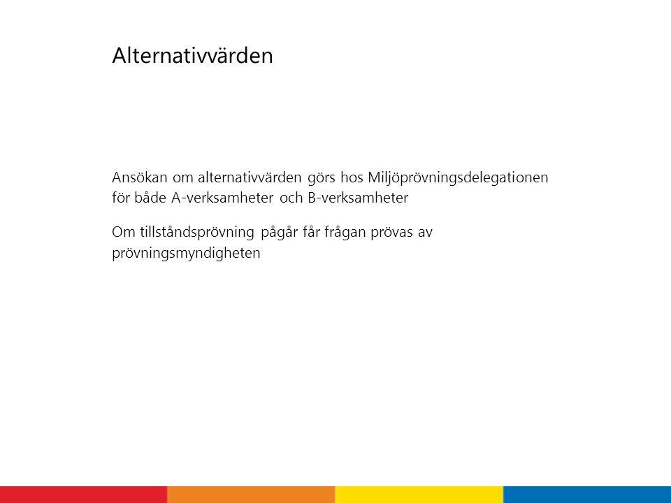 Alternativvärden Ansökan om alternativvärden görs hos Miljöprövningsdelegationen för både A-verksamheter och B-verksamheter Om tillståndsprövning pågå