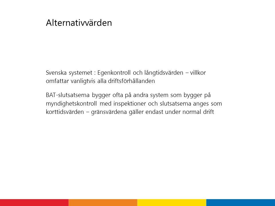 Alternativvärden Svenska systemet : Egenkontroll och långtidsvärden – villkor omfattar vanligtvis alla driftsförhållanden BAT-slutsatserna bygger ofta