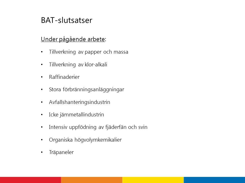 BAT-slutsatser Under pågående arbete: • Tillverkning av papper och massa • Tillverkning av klor-alkali • Raffinaderier • Stora förbränningsanläggninga
