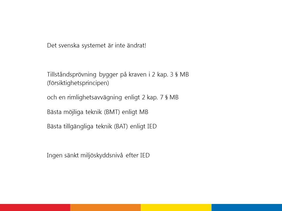 Det svenska systemet är inte ändrat! Tillståndsprövning bygger på kraven i 2 kap. 3 § MB (försiktighetsprincipen) och en rimlighetsavvägning enligt 2