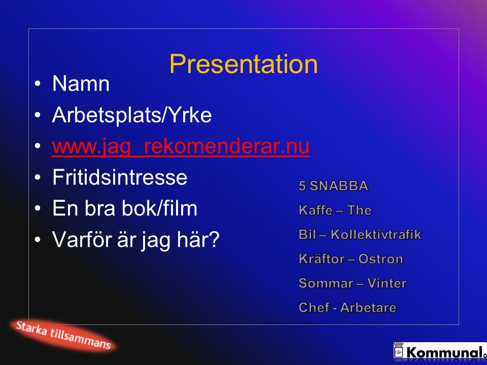 Presentation •Namn •Arbetsplats/Yrke •www.jag_rekomenderar.nuwww.jag_rekomenderar.nu •Fritidsintresse •En bra bok/film •Varför är jag här?