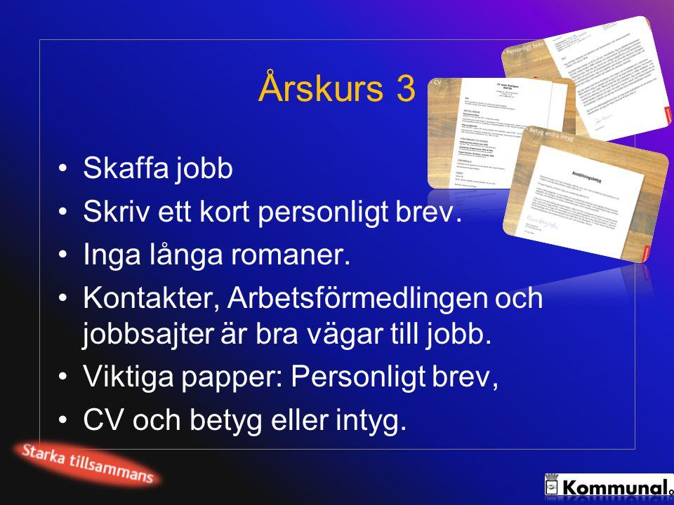 Årskurs 3 •Skaffa jobb •Skriv ett kort personligt brev. •Inga långa romaner. •Kontakter, Arbetsförmedlingen och jobbsajter är bra vägar till jobb. •Vi