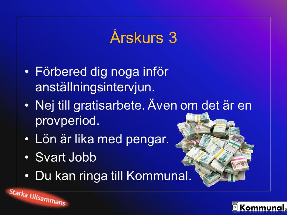 Årskurs 3 •Förbered dig noga inför anställningsintervjun. •Nej till gratisarbete. Även om det är en provperiod. •Lön är lika med pengar. •Svart Jobb •