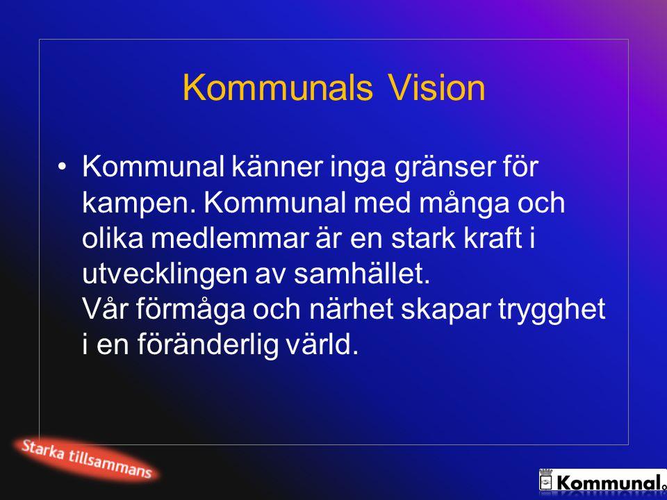 Kommunals Vision •Kommunal känner inga gränser för kampen. Kommunal med många och olika medlemmar är en stark kraft i utvecklingen av samhället. Vår f