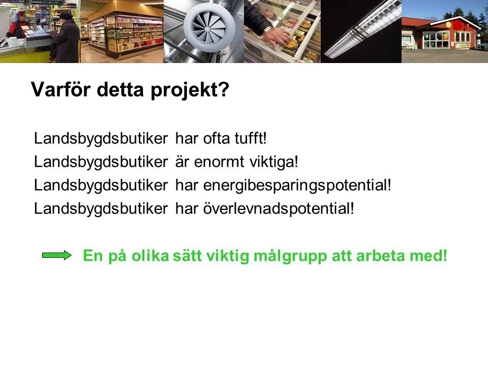 Varför detta projekt? Landsbygdsbutiker har ofta tufft! Landsbygdsbutiker är enormt viktiga! Landsbygdsbutiker har energibesparingspotential! Landsbyg