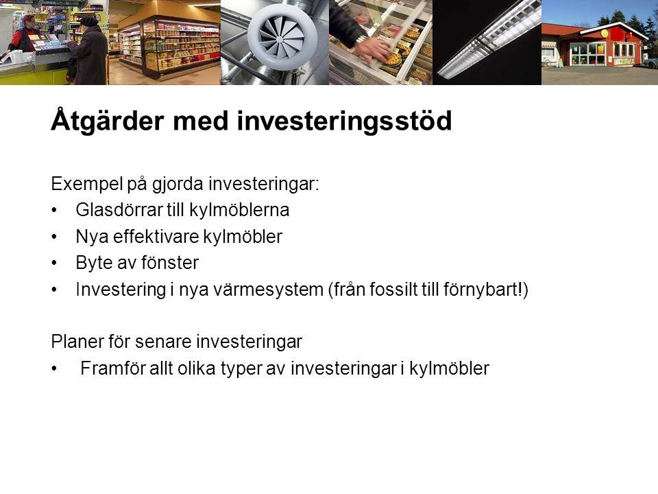 Åtgärder med investeringsstöd Exempel på gjorda investeringar: •Glasdörrar till kylmöblerna •Nya effektivare kylmöbler •Byte av fönster •Investering i