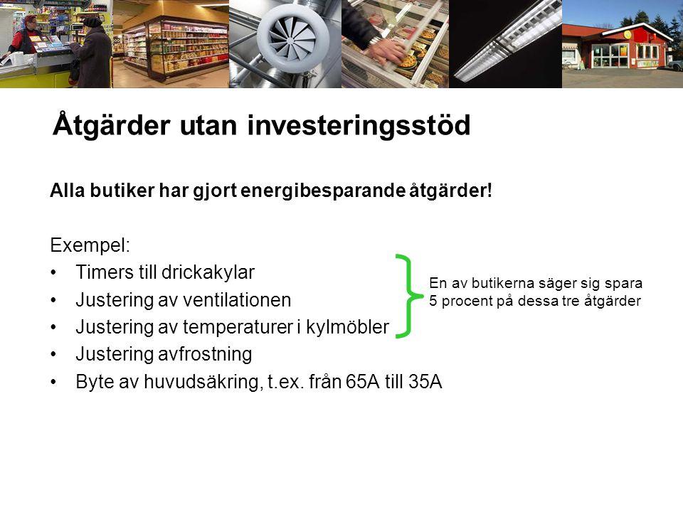 Åtgärder utan investeringsstöd Alla butiker har gjort energibesparande åtgärder! Exempel: •Timers till drickakylar •Justering av ventilationen •Juster