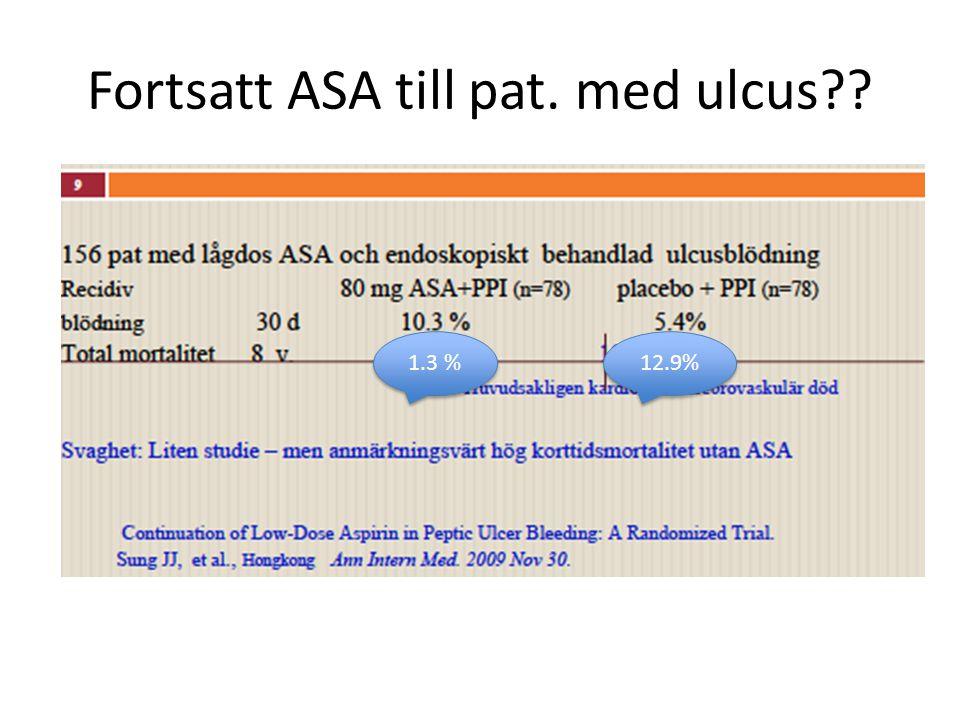 Fortsatt ASA till pat. med ulcus?? 1.3 % 12.9%