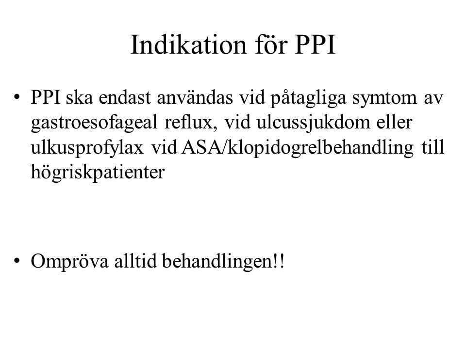 Indikation för PPI • PPI ska endast användas vid påtagliga symtom av gastroesofageal reflux, vid ulcussjukdom eller ulkusprofylax vid ASA/klopidogrelb