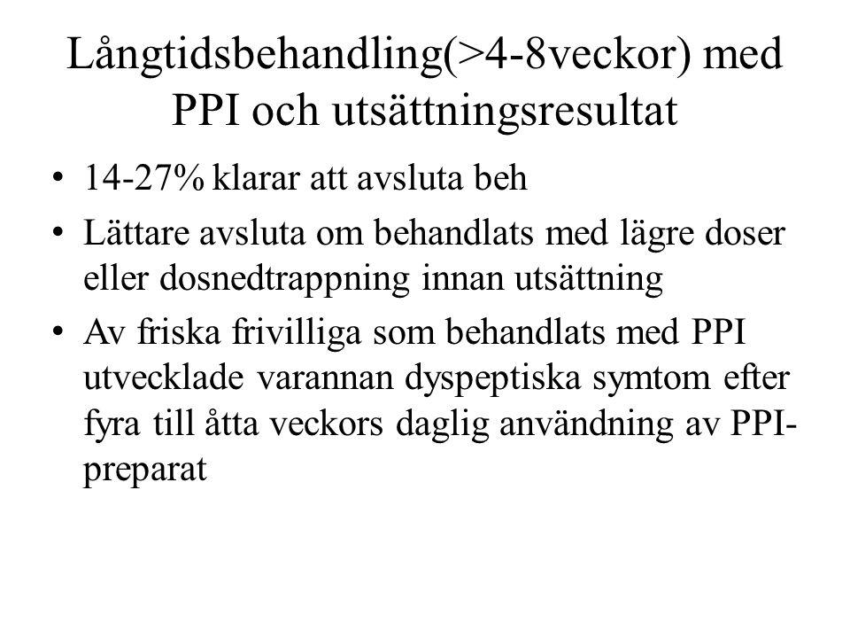 Långtidsbehandling(>4-8veckor) med PPI och utsättningsresultat • 14-27% klarar att avsluta beh • Lättare avsluta om behandlats med lägre doser eller d