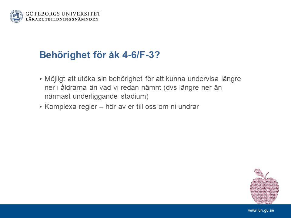 www.lun.gu.se Behörighet för åk 4-6/F-3.
