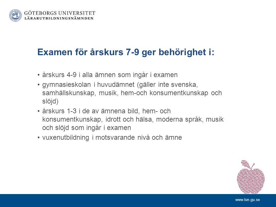 www.lun.gu.se Examen för årskurs 7-9 ger behörighet i: •årskurs 4-9 i alla ämnen som ingår i examen •gymnasieskolan i huvudämnet (gäller inte svenska, samhällskunskap, musik, hem-och konsumentkunskap och slöjd) •årskurs 1-3 i de av ämnena bild, hem- och konsumentkunskap, idrott och hälsa, moderna språk, musik och slöjd som ingår i examen •vuxenutbildning i motsvarande nivå och ämne