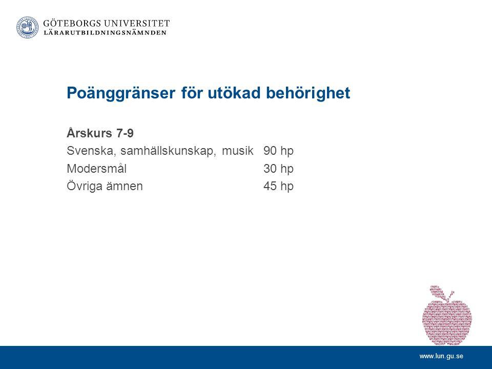 www.lun.gu.se Poänggränser för utökad behörighet Årskurs 7-9 Svenska, samhällskunskap, musik90 hp Modersmål 30 hp Övriga ämnen45 hp