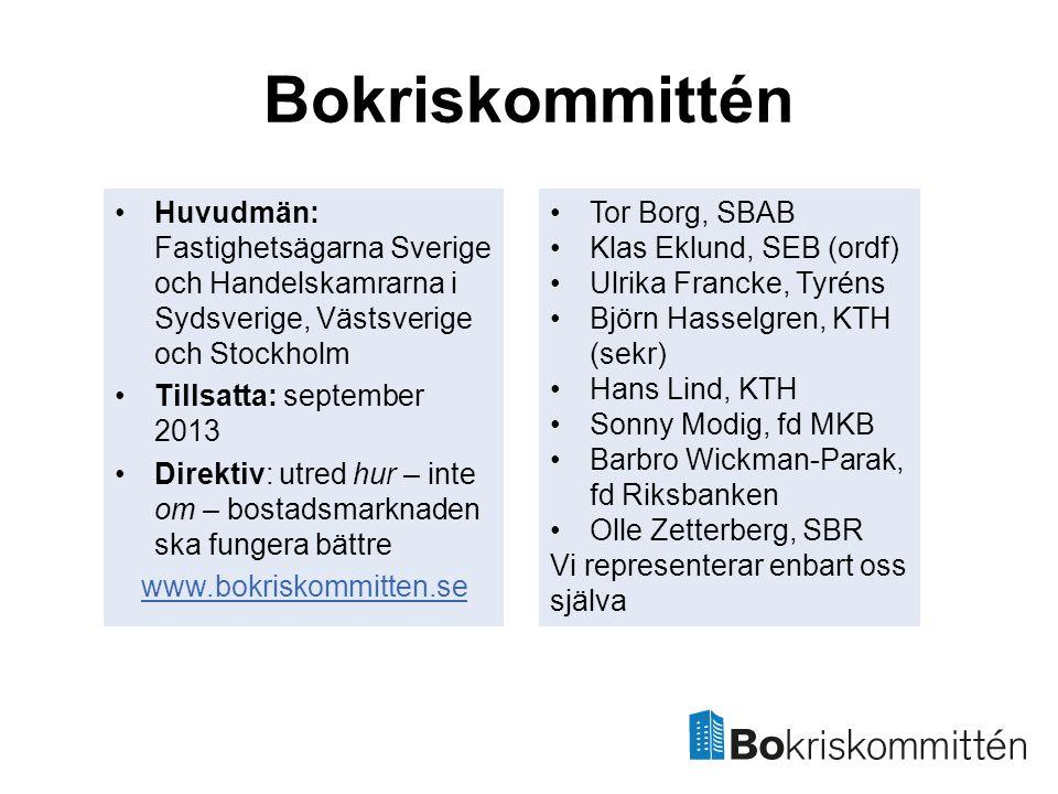 Bokriskommittén •Huvudmän: Fastighetsägarna Sverige och Handelskamrarna i Sydsverige, Västsverige och Stockholm •Tillsatta: september 2013 •Direktiv: