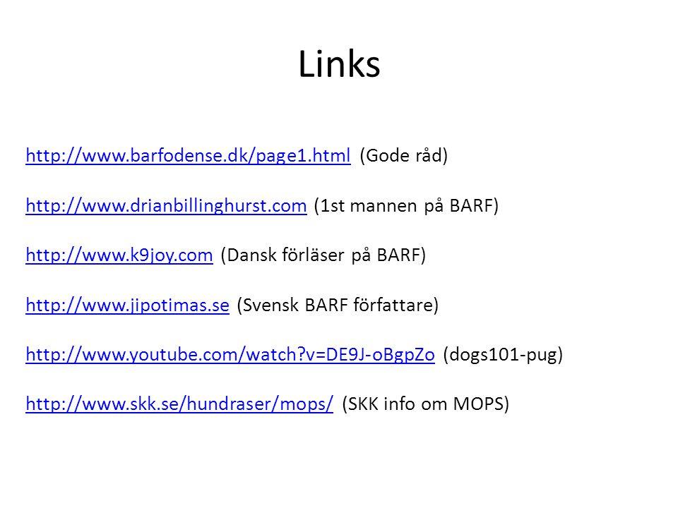 Links http://www.barfodense.dk/page1.htmlhttp://www.barfodense.dk/page1.html (Gode råd) http://www.drianbillinghurst.comhttp://www.drianbillinghurst.com (1st mannen på BARF) http://www.k9joy.comhttp://www.k9joy.com (Dansk förläser på BARF) http://www.jipotimas.sehttp://www.jipotimas.se (Svensk BARF författare) http://www.youtube.com/watch?v=DE9J-oBgpZohttp://www.youtube.com/watch?v=DE9J-oBgpZo (dogs101-pug) http://www.skk.se/hundraser/mops/http://www.skk.se/hundraser/mops/ (SKK info om MOPS)