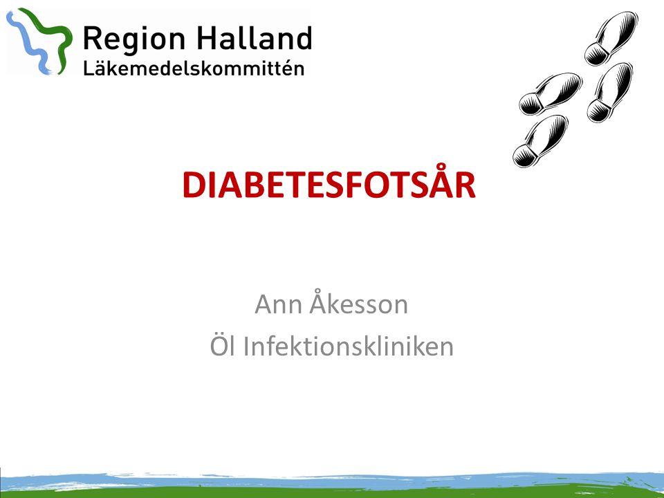 Diabetesfotsår • Ett allvarligt hot mot såväl patientens som fotens överlevnad • Prevalens 4-10 % av diabetiker • Vanligaste diabeteskomplikationen som leder till sjukhusvård • 40-60% av alla icke traumatiska amputationer på nedre extremiteterna • 800 förstagångsamputationer ovan fotled/år i Sverige på diabetespatienter > 40år • >80 % av amputationer föregås av ett fotsår