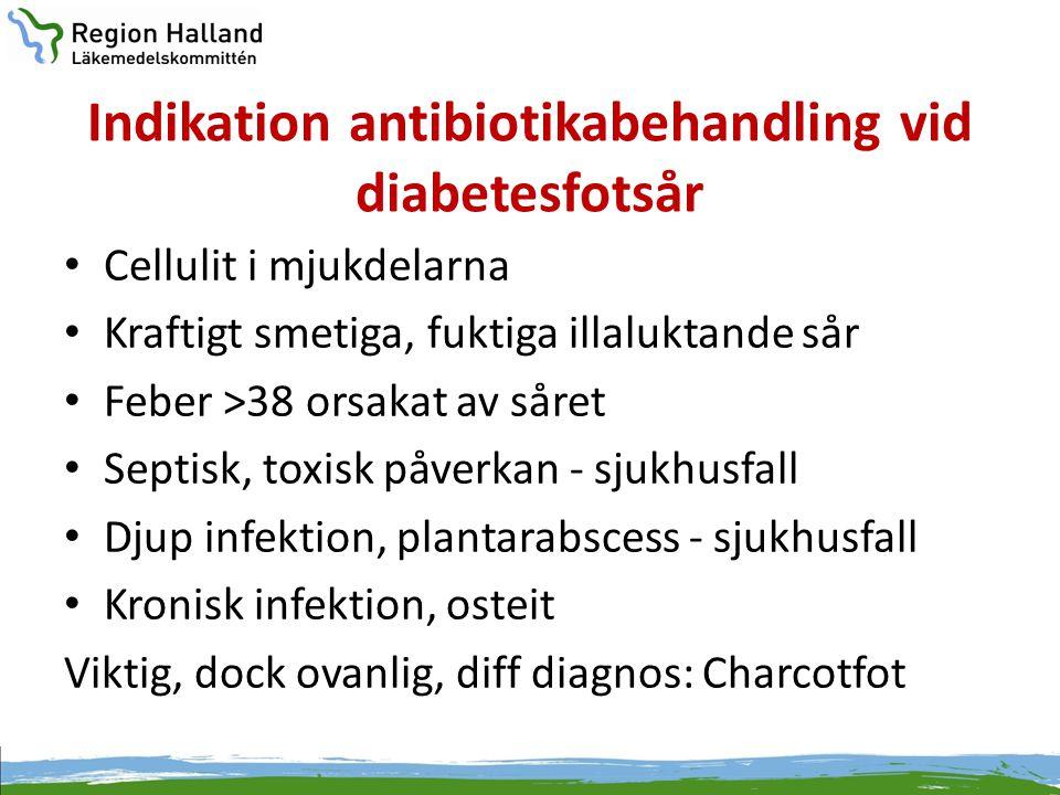 Indikation antibiotikabehandling vid diabetesfotsår • Cellulit i mjukdelarna • Kraftigt smetiga, fuktiga illaluktande sår • Feber >38 orsakat av såret