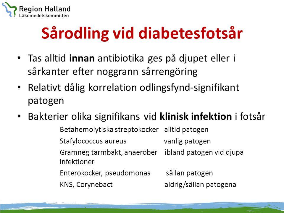 Sårodling vid diabetesfotsår • Tas alltid innan antibiotika ges på djupet eller i sårkanter efter noggrann sårrengöring • Relativt dålig korrelation o