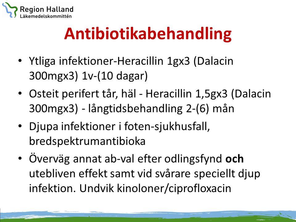 Antibiotikabehandling • Ytliga infektioner-Heracillin 1gx3 (Dalacin 300mgx3) 1v-(10 dagar) • Osteit perifert tår, häl - Heracillin 1,5gx3 (Dalacin 300