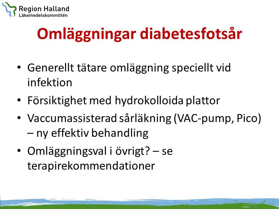 Omläggningar diabetesfotsår • Generellt tätare omläggning speciellt vid infektion • Försiktighet med hydrokolloida plattor • Vaccumassisterad sårläkni