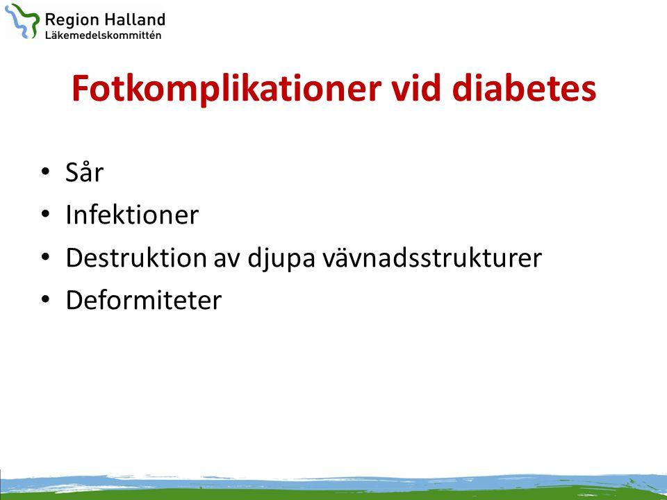 Fotkomplikationer vid diabetes • Sår • Infektioner • Destruktion av djupa vävnadsstrukturer • Deformiteter