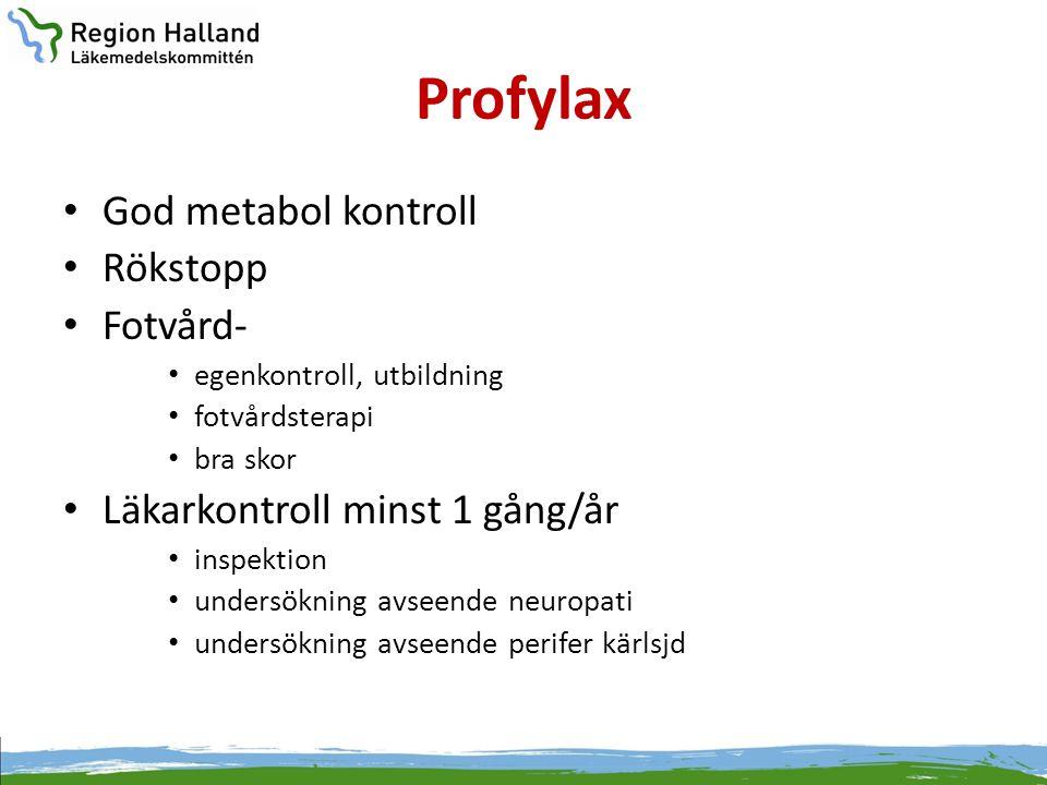 Profylax • God metabol kontroll • Rökstopp • Fotvård- • egenkontroll, utbildning • fotvårdsterapi • bra skor • Läkarkontroll minst 1 gång/år • inspekt