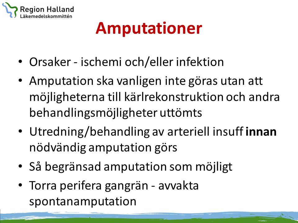 Amputationer • Orsaker - ischemi och/eller infektion • Amputation ska vanligen inte göras utan att möjligheterna till kärlrekonstruktion och andra beh