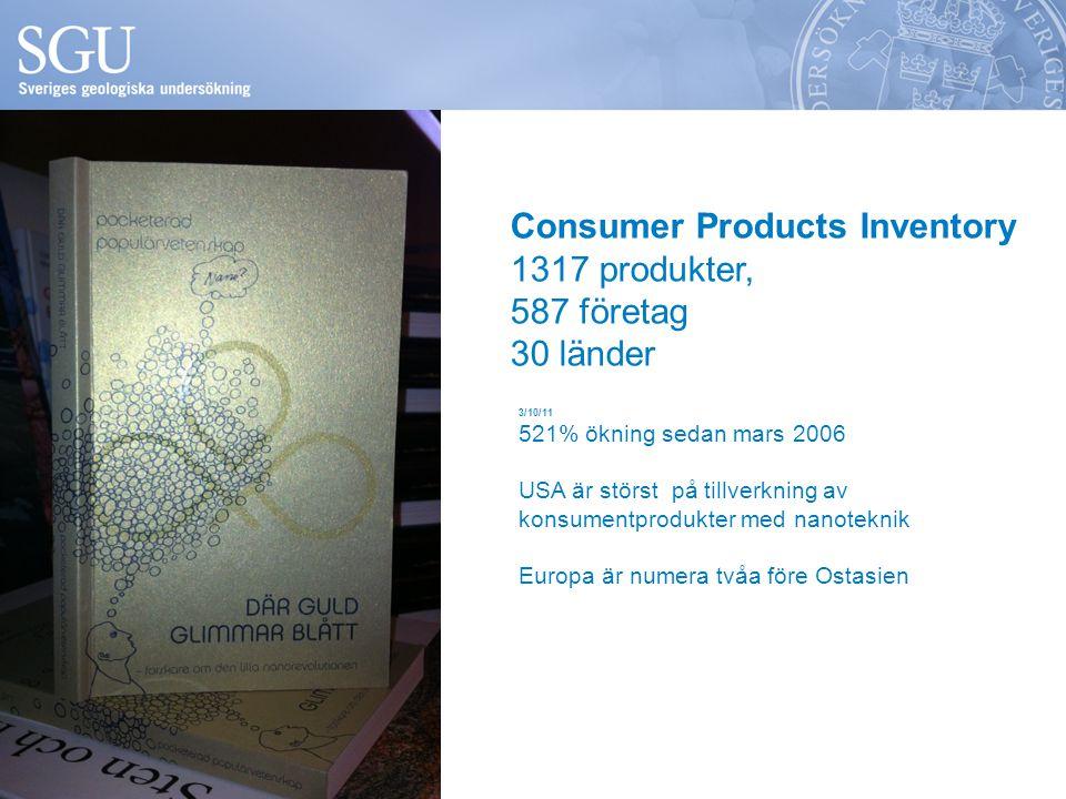 Consumer Products Inventory 1317 produkter, 587 företag 30 länder 3/10/11 521% ökning sedan mars 2006 USA är störst på tillverkning av konsumentproduk