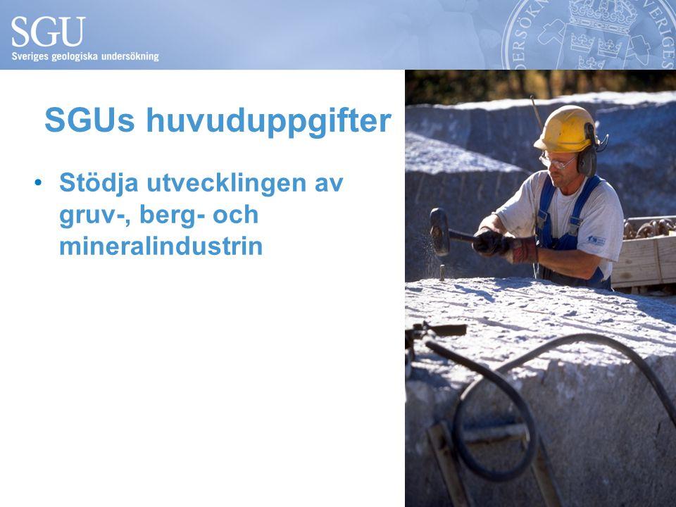 SGUs huvuduppgifter •Stödja utvecklingen av gruv-, berg- och mineralindustrin