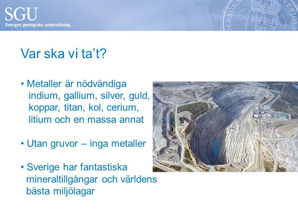 Var ska vi ta't? • Metaller är nödvändiga indium, gallium, silver, guld, koppar, titan, kol, cerium, litium och en massa annat • Utan gruvor – inga me