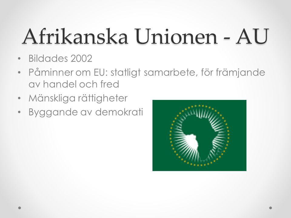 Afrikanska Unionen - AU • Bildades 2002 • Påminner om EU: statligt samarbete, för främjande av handel och fred • Mänskliga rättigheter • Byggande av d