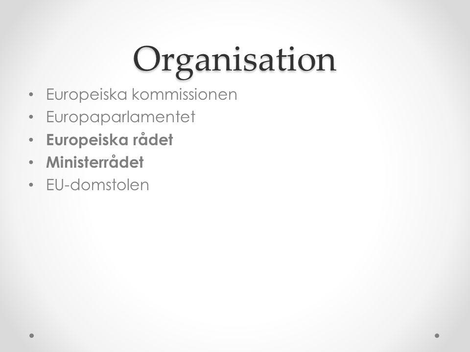 Organisation • Europeiska kommissionen • Europaparlamentet • Europeiska rådet • Ministerrådet • EU-domstolen