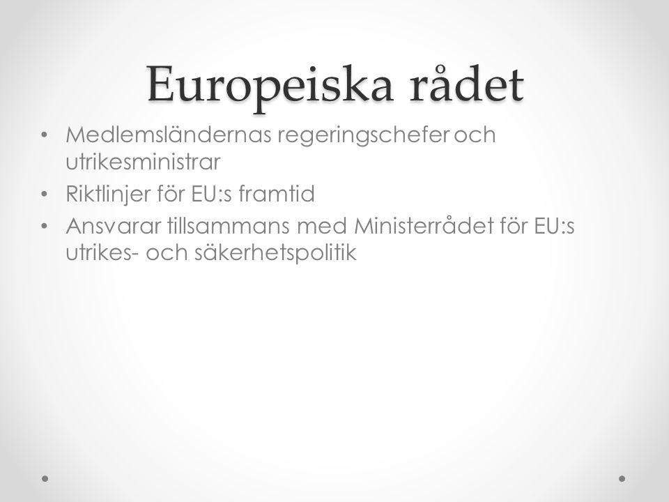 Europeiska rådet • Medlemsländernas regeringschefer och utrikesministrar • Riktlinjer för EU:s framtid • Ansvarar tillsammans med Ministerrådet för EU