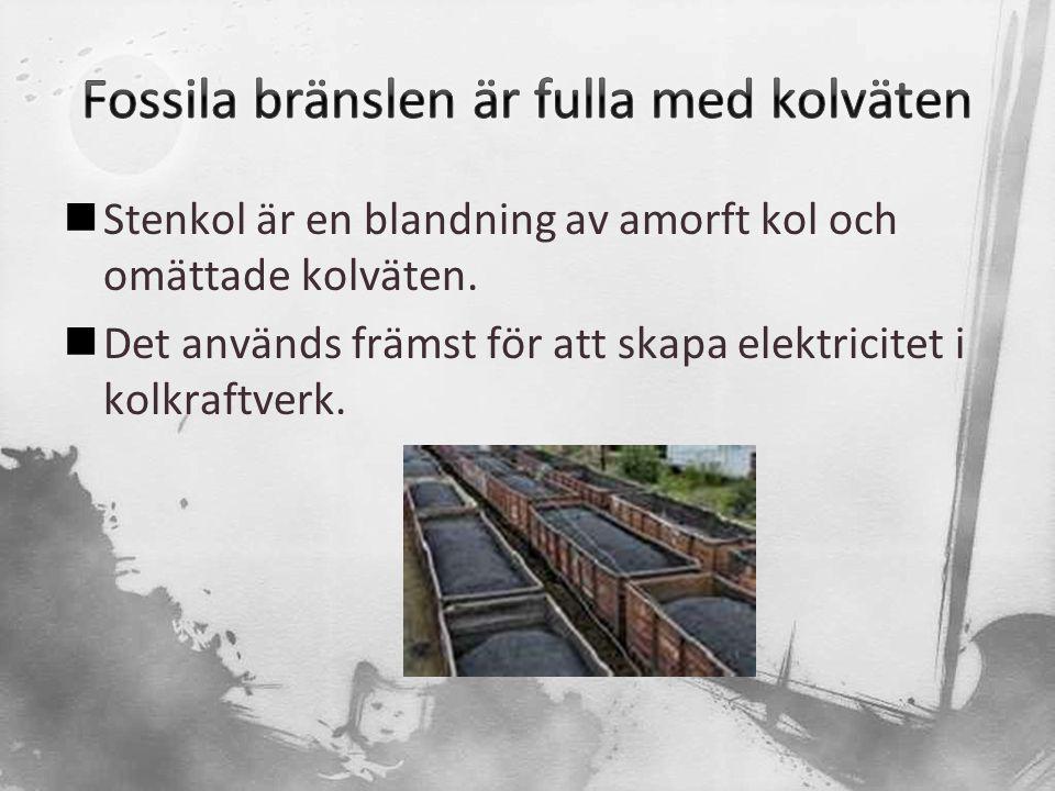  Stenkol är en blandning av amorft kol och omättade kolväten.  Det används främst för att skapa elektricitet i kolkraftverk.